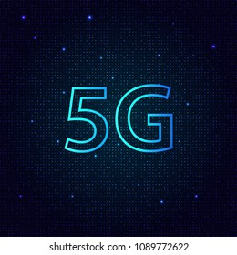 5G standard of modern signal transmission technology. Vector illustration .