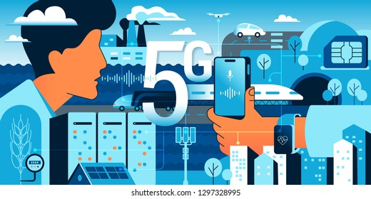 5G technologies in our life. Gradient vector concept illustration of new high speed wireless data connection 5G between sensors, servers, people, mobile smartphones, vehicles and urban infrastructure