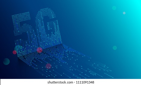 5G technology background. Digital data as digits connected each other and form symbol 5G on blue background. New generation mobile networks and internet.
