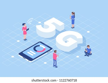 5g technology concept with characters. Can use for web banner, infographics, hero images.  Flat isometric vector illustration isolated on white background.