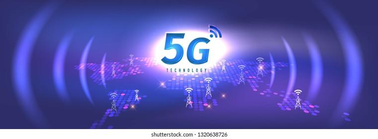 5G Technology concept digital background. Vector Illustration, great for technology or telecom innovation trend.