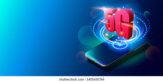 5G Technology Concept. Glowing Realistic Vector Illustration of Smartphone and 5G Symbol. New Generation Mobile Networks and Internet. Fifth Innovative Generation of Global High Speed Internet Network
