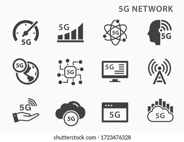 5g technology  icons set. Vector illustration for web sites and mobile application.