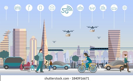 5G technology in modern city. Everything connected in the cloud.  Drones for fast deliveries. Electrified vehicles, buses, trains and bicycles. Vector illustration