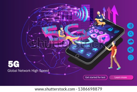 5g wireless internet wifi connection  speed of network concept  people are  using gadgets enjoying