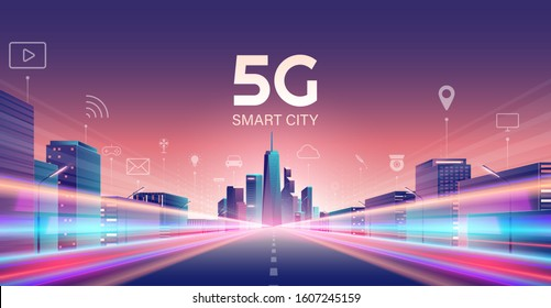 5G wireless network and smart city concept. night urban city with things and services icons connection, internet of things, 5G network wireless with high speed connection flat design.