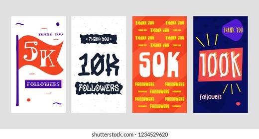 5k, 10k, 50k, 100k  followers Social Media for story. Vector design