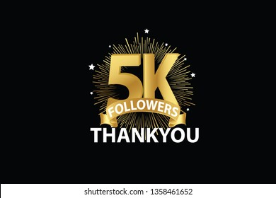 5K, 5000 Followers anniversary, minimalist logo years, jubilee, greeting card. invitation. Sign Ribbon Gold space vector illustration on black background - Vector
