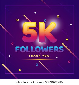 5k or 5000 followers thank you colorful background and glitters. Illustration for Social Network friends, followers, Web user Thank you celebrate of subscribers or followers and likes