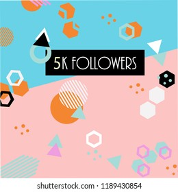 5k followers card banner template for celebrating many followers in on-line social media networks.Vector pattern of coloured likes 5K subscribers