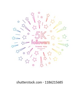 5K followers greeting emblem. Social media symbol with firwork stars decoration in linw art style. Vector label for blog or site design.