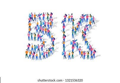 5K Followers Isometric Vector Concept, Group of business people are gathered together in the shape of 5000 word, for web page, banner, presentation, social media, Crowd of little people. teamwork