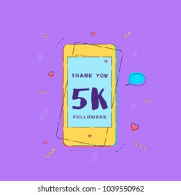 5K Followers thank you card with phone. Template for social media post. Glitch chromatic aberration style. 5000 subscribers banner. Vector illustration.