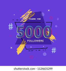 5K followers thank you post with decoration. 5000 subscribers  banner with geometric badge. Greeting card for social networks. Vector illustration.