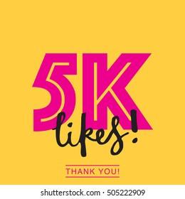 5K likes online social media thank you banner
