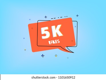 5K likes thank you post.  Greeting card with red speech bubble for social networks. Template for social media. Vector illustration.