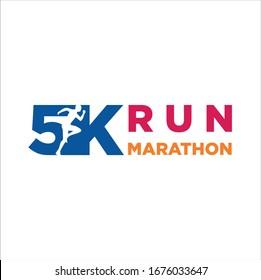 5K Run Logo Design vector Stock symbol .Running logo sport concept . running marathon Logo Design Template. Marathon  Idea logo design inspiration.
