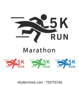 5k run marathon vector illustration.