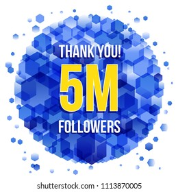 5m or 5000000 followers thank you colorful background and glitters. Illustration for Social Network friends, followers, Web user Thank you celebrate of subscribers or followers and likes