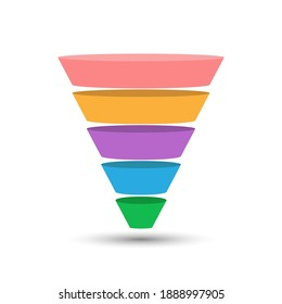5-part lead generation template. A marketing funnel, pyramid, or sales conversion cone. Infographics in flat design style.