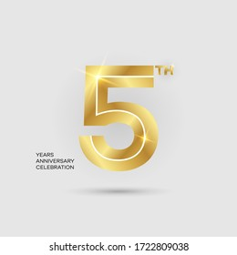 5th 3D gold anniversary logo isolated on elegant background, vector design for celebration purpose