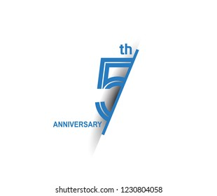 5th anniversary blue cut style isolated on white background