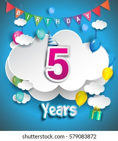 5th Anniversary Celebration Design, with clouds and balloons, confetti. Vector template elements for your, five years birthday celebration party.
