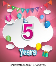 5th Anniversary Celebration Design, with clouds and balloons. using Paper Art Design Style, Vector template elements for your, five years birthday celebration party.