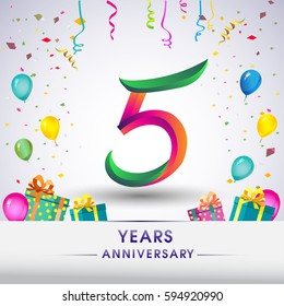 5th Anniversary Celebration Design, with gift box, balloons and confetti, Colorful Vector template elements for your, five years birthday celebration party.