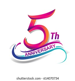5th anniversary celebration logotype blue and red colored. five years birthday logo on white background.