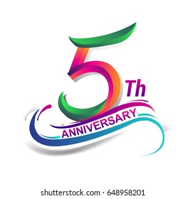 5th anniversary celebration logotype green and red colored. five years birthday logo on white background.