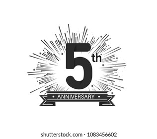 5th anniversary design with firework and ribbon black color for use company celebration