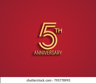 5th anniversary design logotype with line style golden color for celebration event isolated on red background