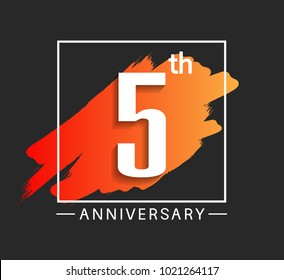 5th anniversary design with orange color brush in square isolated on black background for celebration