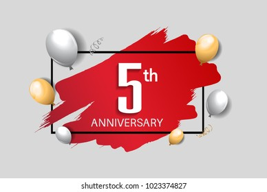 5th anniversary design with red brush, balloons, and square isolated on white background for celebration