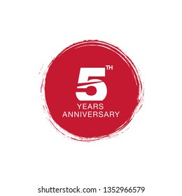 5th anniversary emblem. Five years anniversary celebration symbol