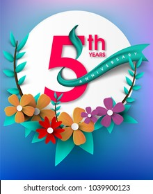 5th Anniversary emblems , anniversary template design for birthday, sale banner and celebrate, invitation card for spring sale and summer sale