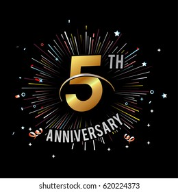 5th Anniversary fireworks and celebration background - stock vector