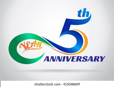 5th anniversary with an infinity symbol. Creative design.