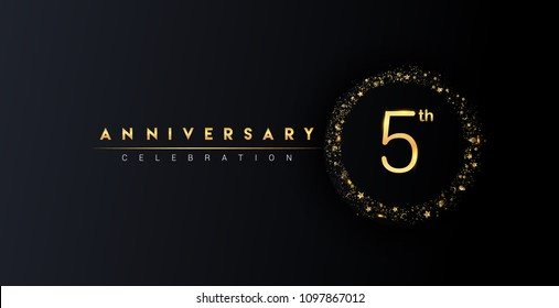 5th anniversary logo with confetti and golden glitter ring isolated on black background, vector design for greeting card and invitation card.