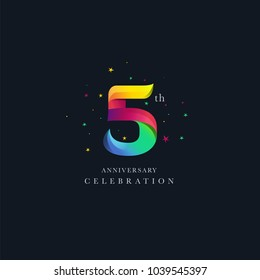 5th Anniversary Logo Design, Number 5 Icon Vector Template.