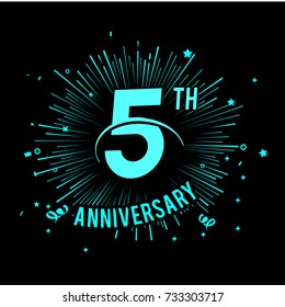 5th anniversary logo with firework background. glow in the dark design concept