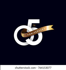 5th anniversary logo with gold ribbon. template design for web, game ,Creative poster, booklet, leaflet, flyer, magazine, invitation card