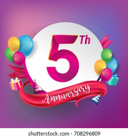 5th Anniversary logo with ribbon, balloon, and gift box isolated on circle object and colorful background