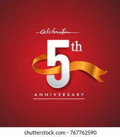 5th anniversary logotype with golden ribbon isolated on red elegance background, vector design for birthday celebration, greeting card and invitation card.
