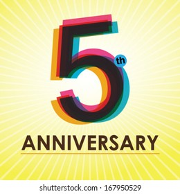 5th Anniversary poster / template design in retro style - Vector Background