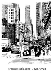 5th avenue in New York - vector illustration