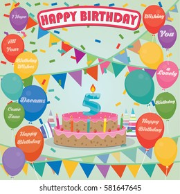 5th Birthday Cake And Decoration Background In Flat Design With Balloons Candles