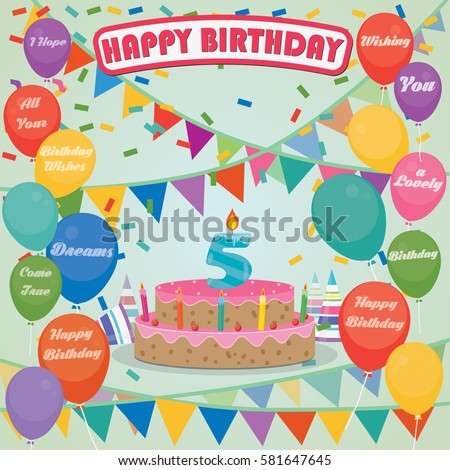 5th Birthday Cake Decoration Background Flat Stock Vector Royalty