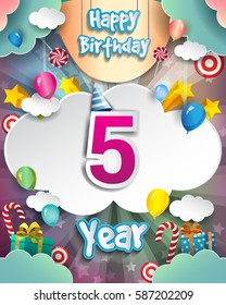 5th Birthday Celebration greeting card Design, with clouds and balloons. Vector elements for the celebration party of five years anniversary